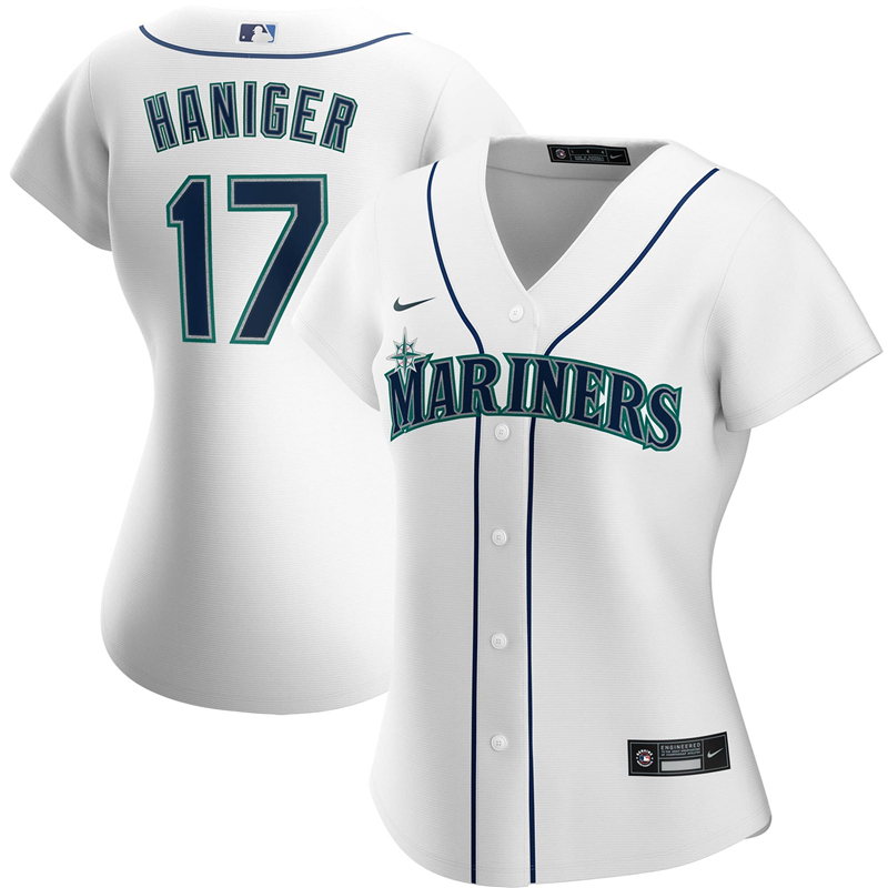 2020 MLB Women Seattle Mariners 17 Mitch Haniger Nike White Home 2020 Replica Player Jersey 1