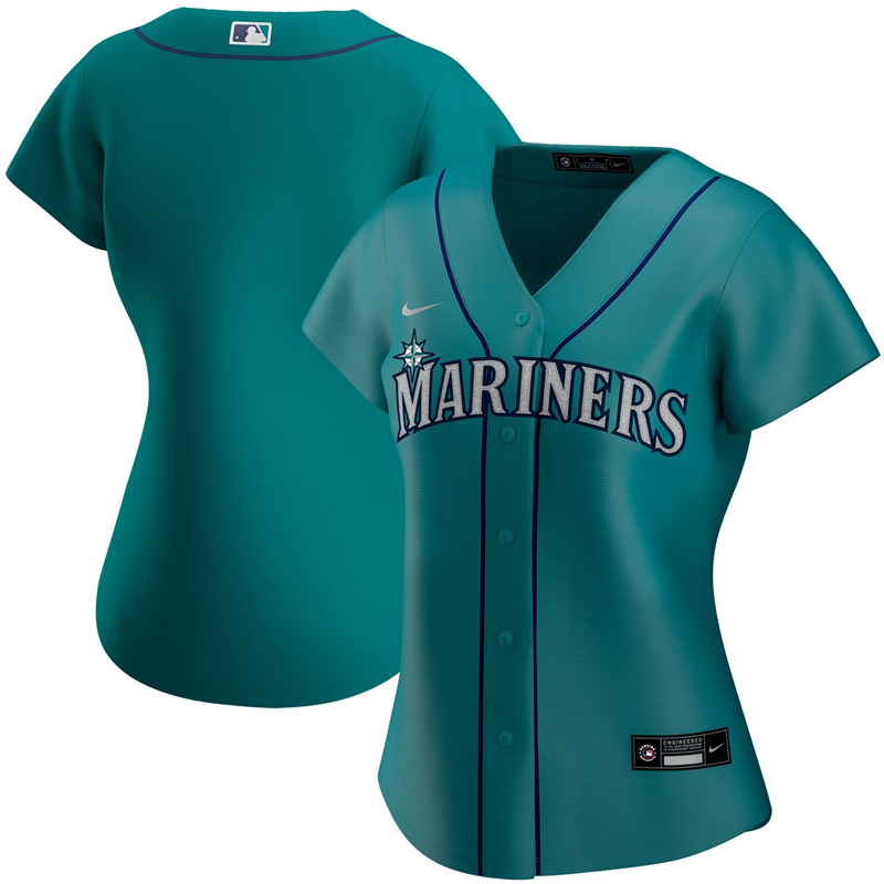 2020 MLB Women Seattle Mariners Nike Aqua Alternate 2020 Replica Team Jersey 1