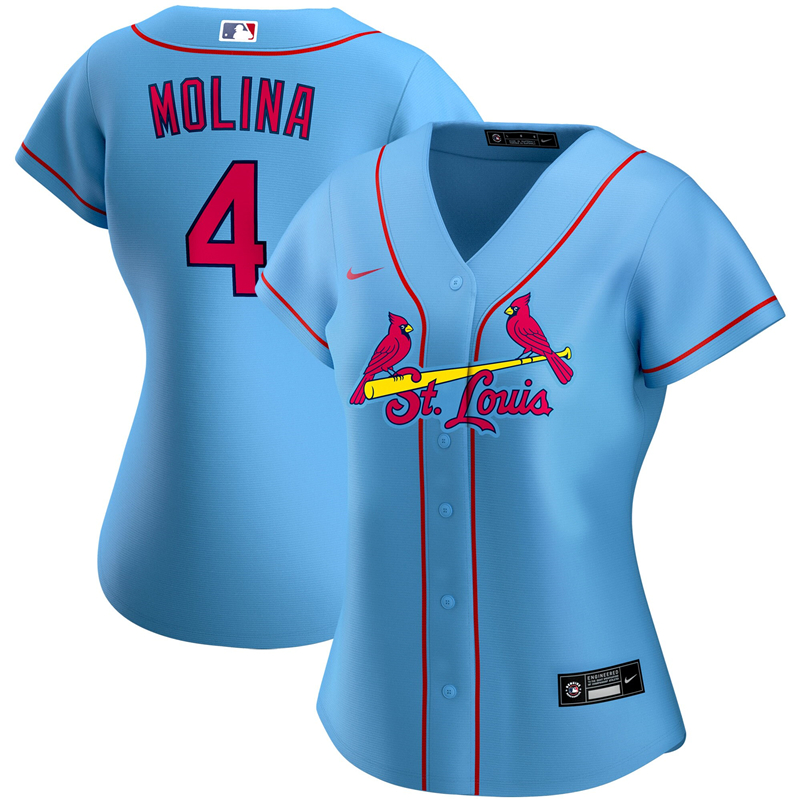 2020 MLB Women St. Louis Cardinals 4 Yadier Molina Nike Light Blue Alternate 2020 Replica Player Jersey 1