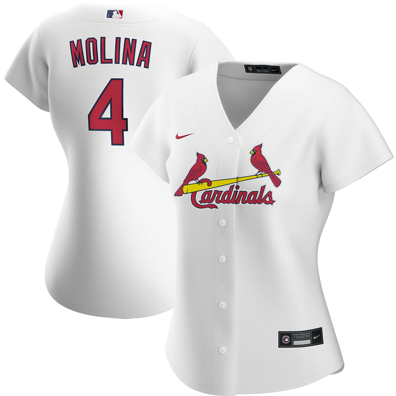 2020 MLB Women St. Louis Cardinals 4 Yadier Molina Nike White Home 2020 Replica Player Jersey 1