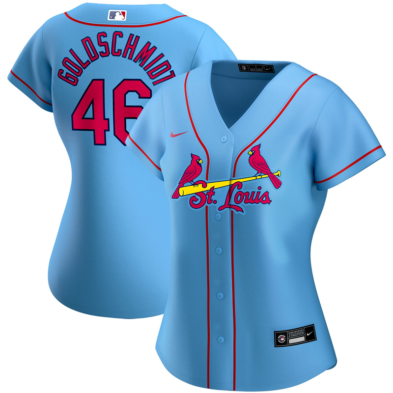 2020 MLB Women St. Louis Cardinals 46 Paul Goldschmidt Nike Light Blue Alternate 2020 Replica Player Jersey 1
