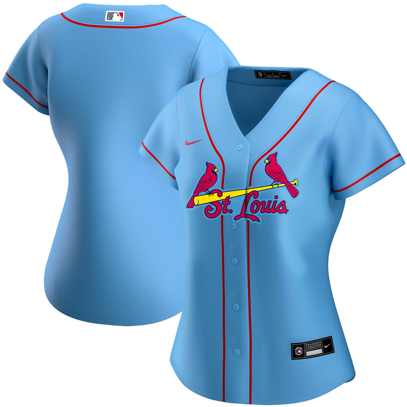 2020 MLB Women St. Louis Cardinals Nike Light Blue Alternate 2020 Replica Team Jersey 1