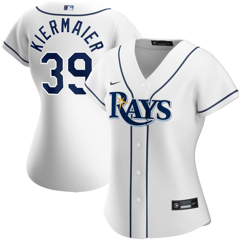 2020 MLB Women Tampa Bay Rays 39 Kevin Kiermaier Nike White Home 2020 Replica Player Jersey 1