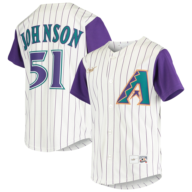 2020 MLB Youth Arizona Diamondbacks 51 Randy Johnson Nike Cream Alternate Cooperstown Collection Player Jersey 1