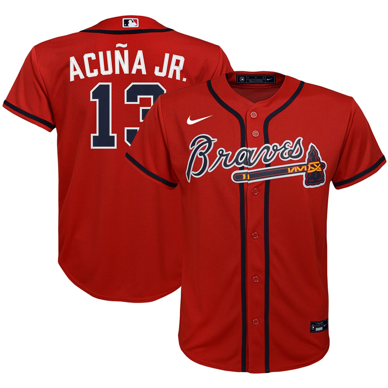 2020 MLB Youth Atlanta Braves 13 Ronald Acuna Jr. Nike Red Alternate 2020 Replica Player Jersey 1