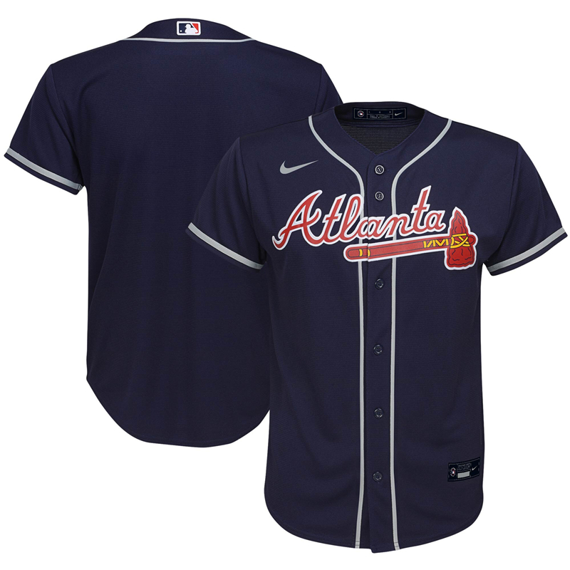 2020 MLB Youth Atlanta Braves Nike Navy Alternate 2020 Replica Team Jersey 1
