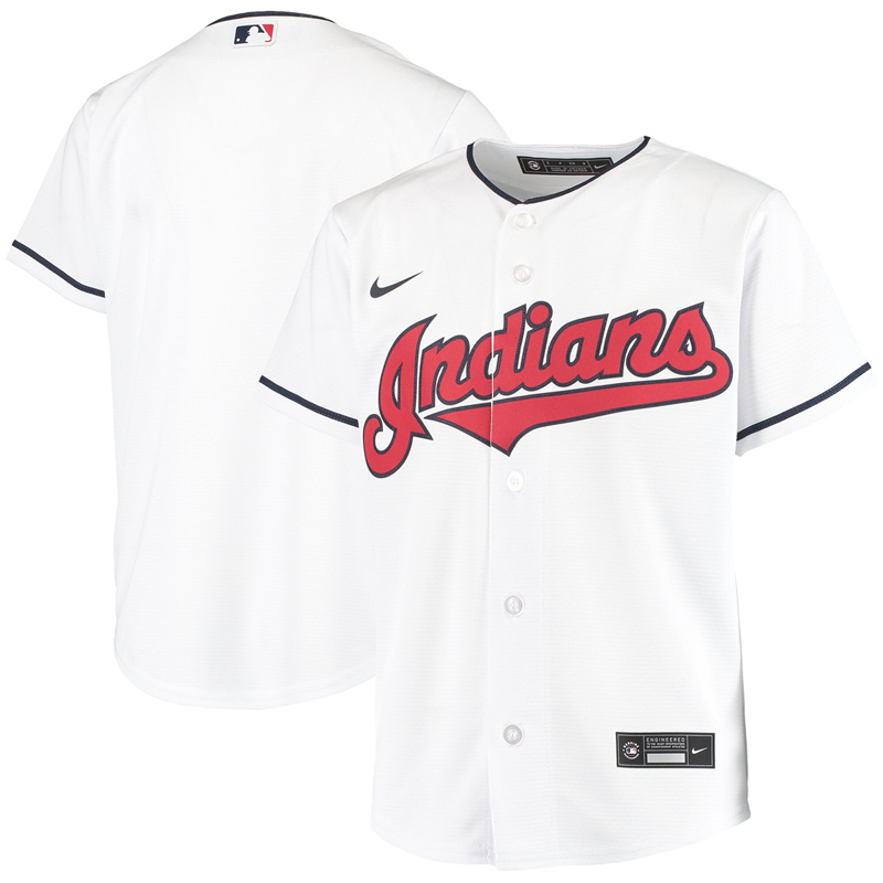2020 MLB Youth Cleveland Indians Nike White Home 2020 Replica Team Jersey 1
