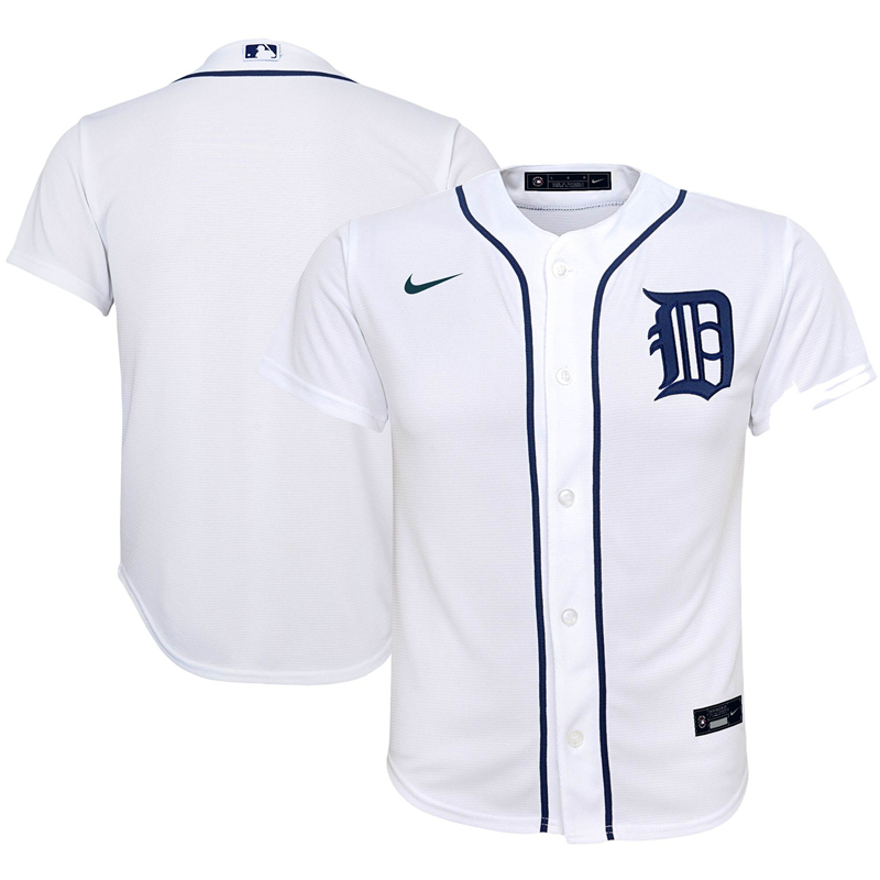 2020 MLB Youth Detroit Tigers Nike White Home 2020 Replica Team Jersey 1