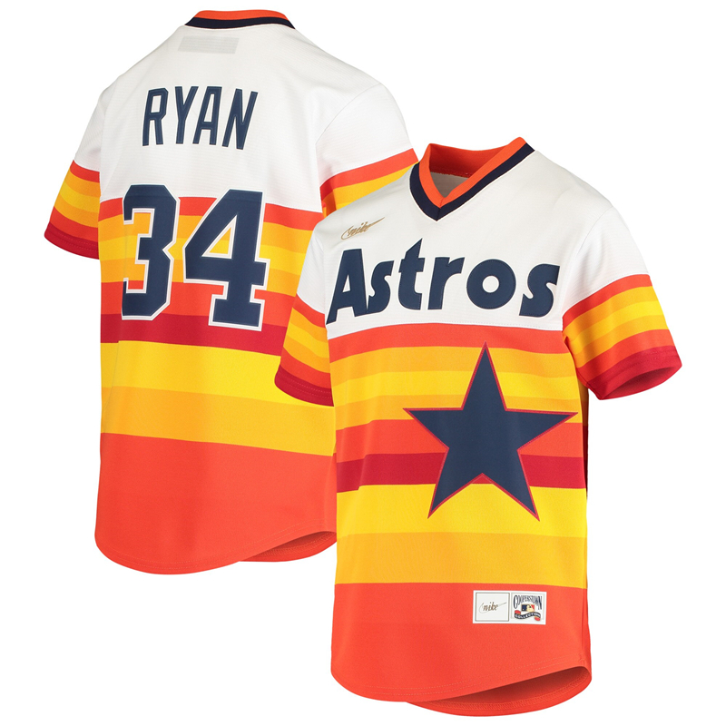 2020 MLB Youth Houston Astros 34 Nolan Ryan Nike White Home Cooperstown Collection Player Jersey 1