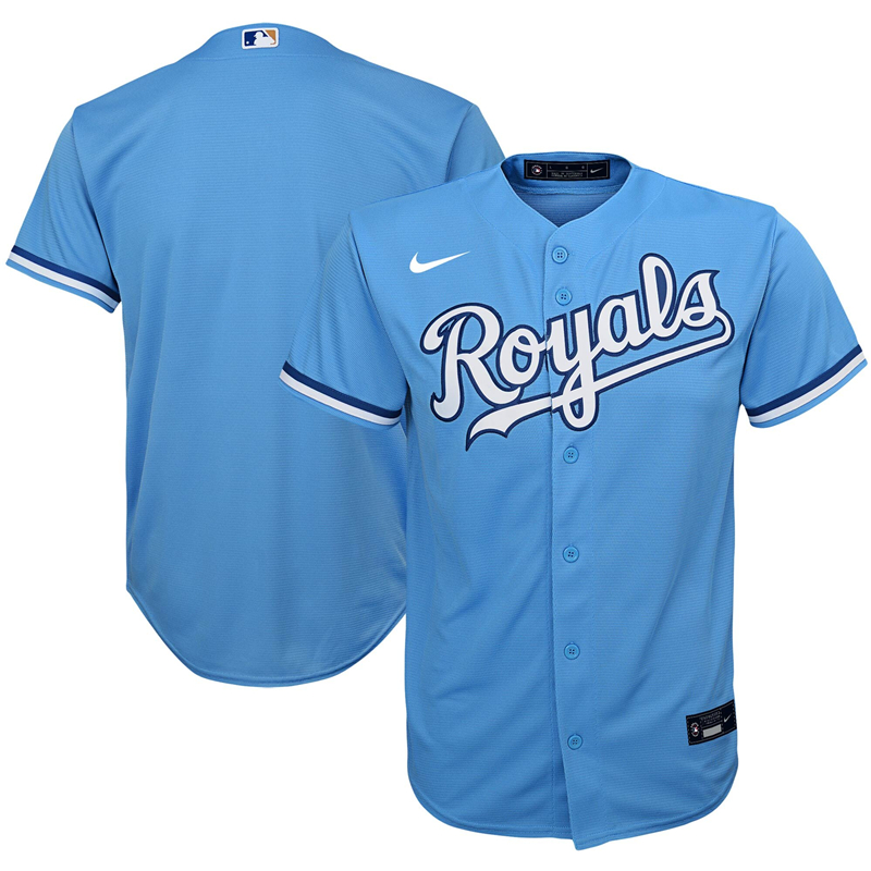 2020 MLB Youth Kansas City Royals Nike Light Blue Alternate 2020 Replica Team Jersey 1