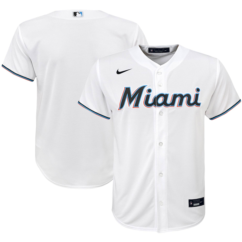 2020 MLB Youth Miami Marlins Nike White Home 2020 Replica Team Jersey 1