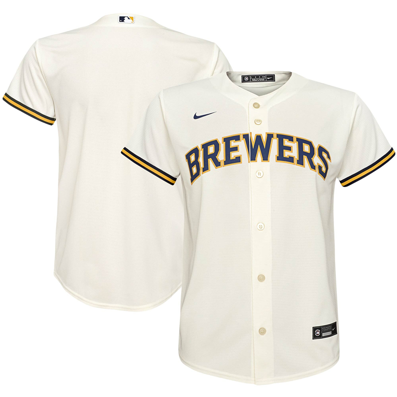 2020 MLB Youth Milwaukee Brewers Nike Cream Home 2020 Replica Team Jersey 1