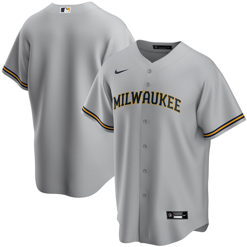 2020 MLB Youth Milwaukee Brewers Nike Gray Road 2020 Replica Team Jersey 1