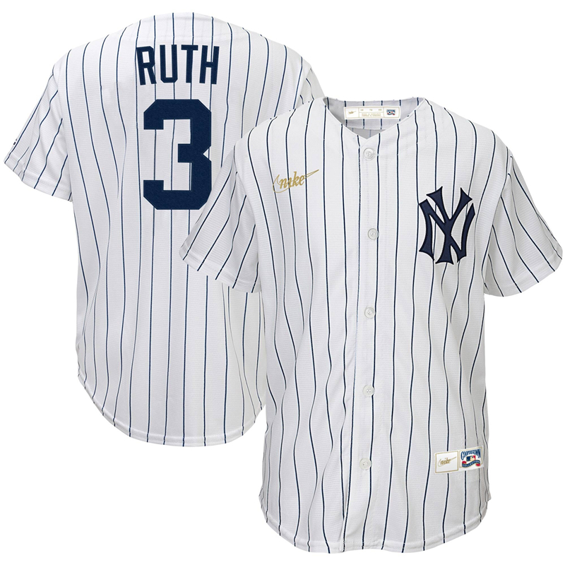 2020 MLB Youth New York Yankees 3 Babe Ruth Nike White Home Cooperstown Collection Player Jersey 1