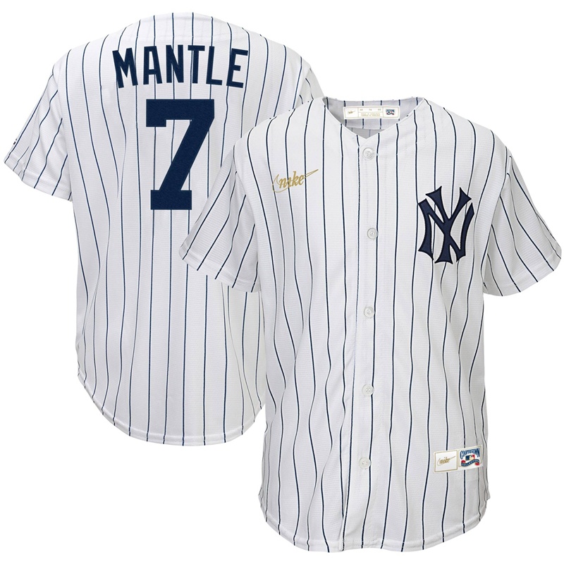 2020 MLB Youth New York Yankees 7 Mickey Mantle Nike White Home Cooperstown Collection Player Jersey 1