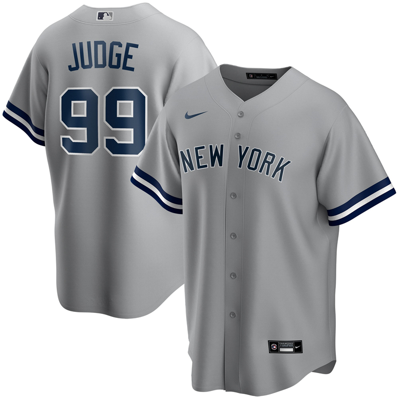 2020 MLB Youth New York Yankees 99 Aaron Judge Nike Gray Road 2020 Replica Player Jersey 1
