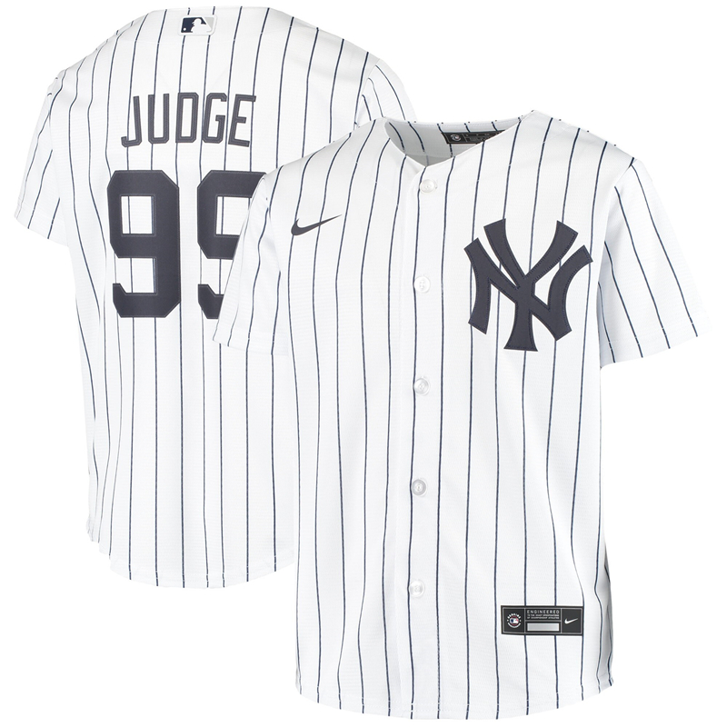 2020 MLB Youth New York Yankees 99 Aaron Judge Nike White Home 2020 Replica Player Jersey 1