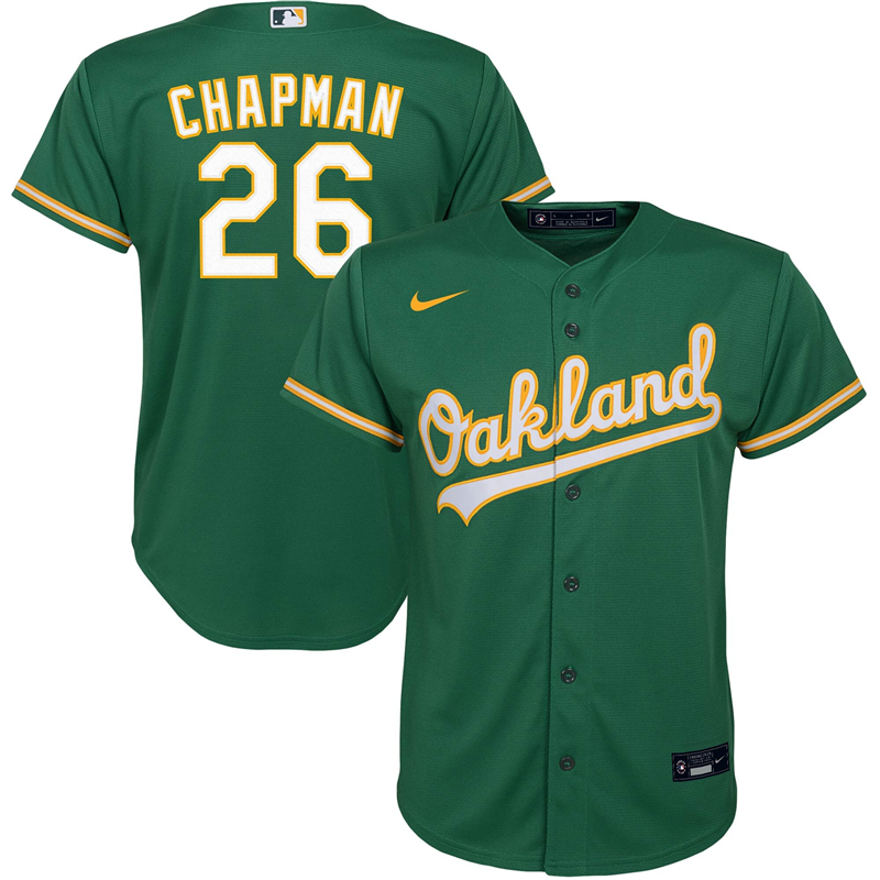 2020 MLB Youth Oakland Athletics 26 Matt Chapman Nike Kelly Green Alternate 2020 Replica Player Jersey 1