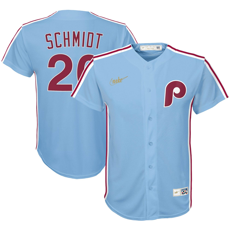 2020 MLB Youth Philadelphia Phillies 20 Mike Schmidt Nike Light Blue Road Cooperstown Collection Player Jersey 1