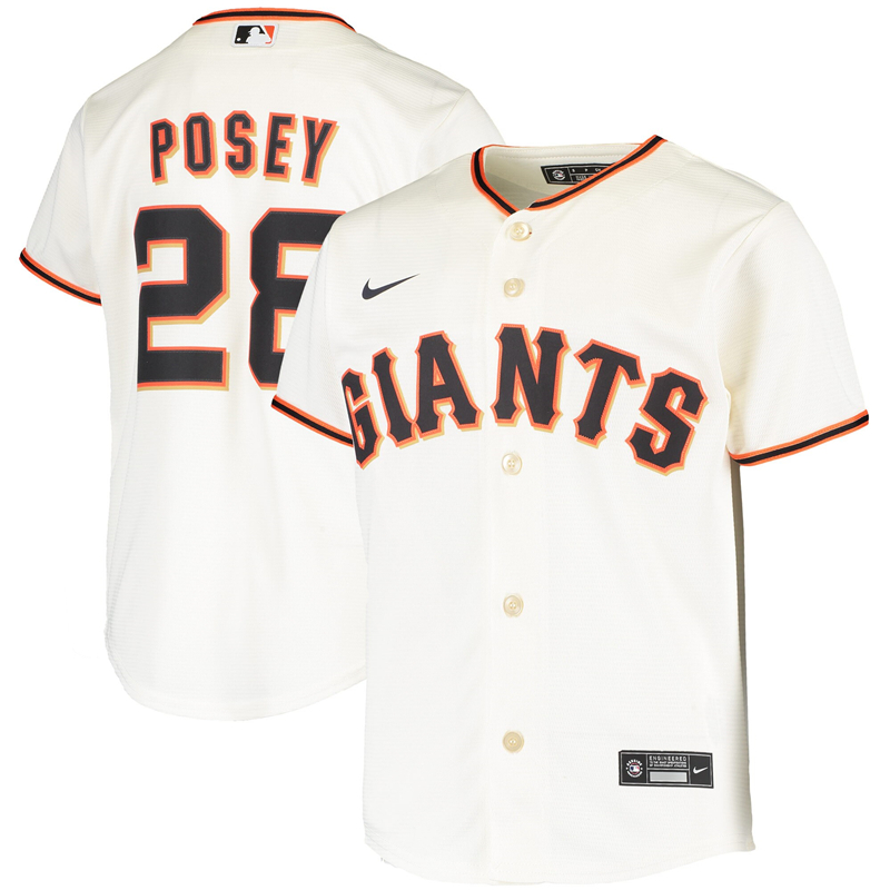 2020 MLB Youth San Francisco Giants 28 Buster Posey Nike Cream Home 2020 Replica Player Jersey 1