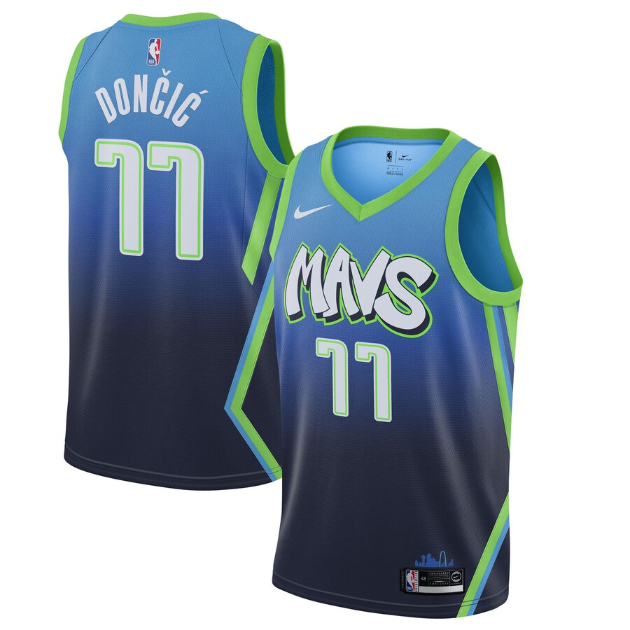 2020 Men Dallas Mavericks 77 Doncic Blue City Edition Game Nike NBA Jerseys