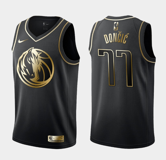 2020 Men Dallas Mavericks 77 Doncic black golden Game Nike NBA Jerseys