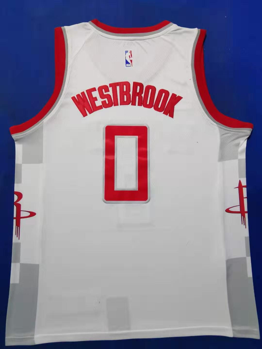 2020 Men Houston Rockets 0 Westbrook Westbrook white city edition NBA Nike Jerseys