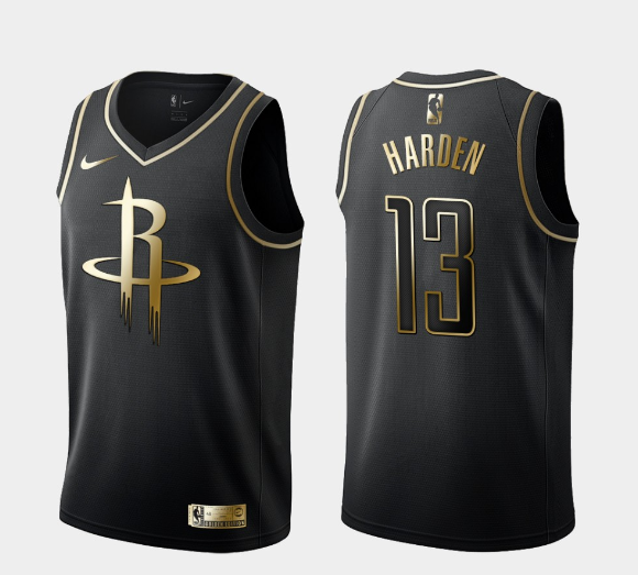 2020 Men Houston Rockets 13 Harden black golden Game NBA Nike Jerseys