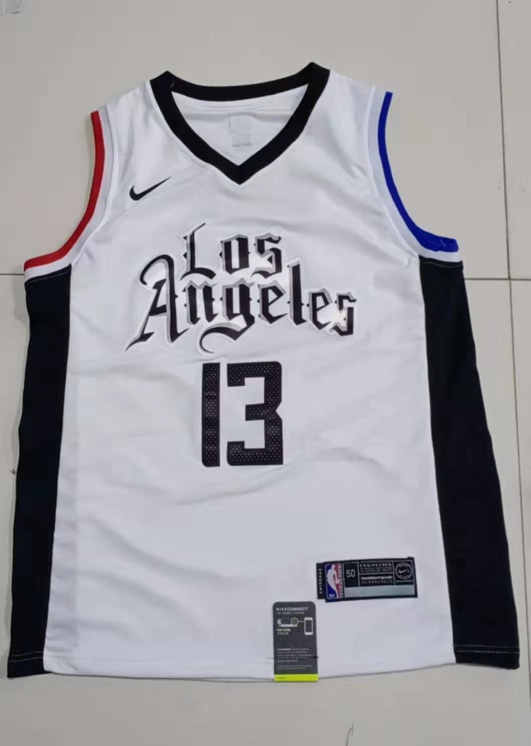 2020 Men Los Angeles Clippers 13 George white Game Nike NBA Jerseys