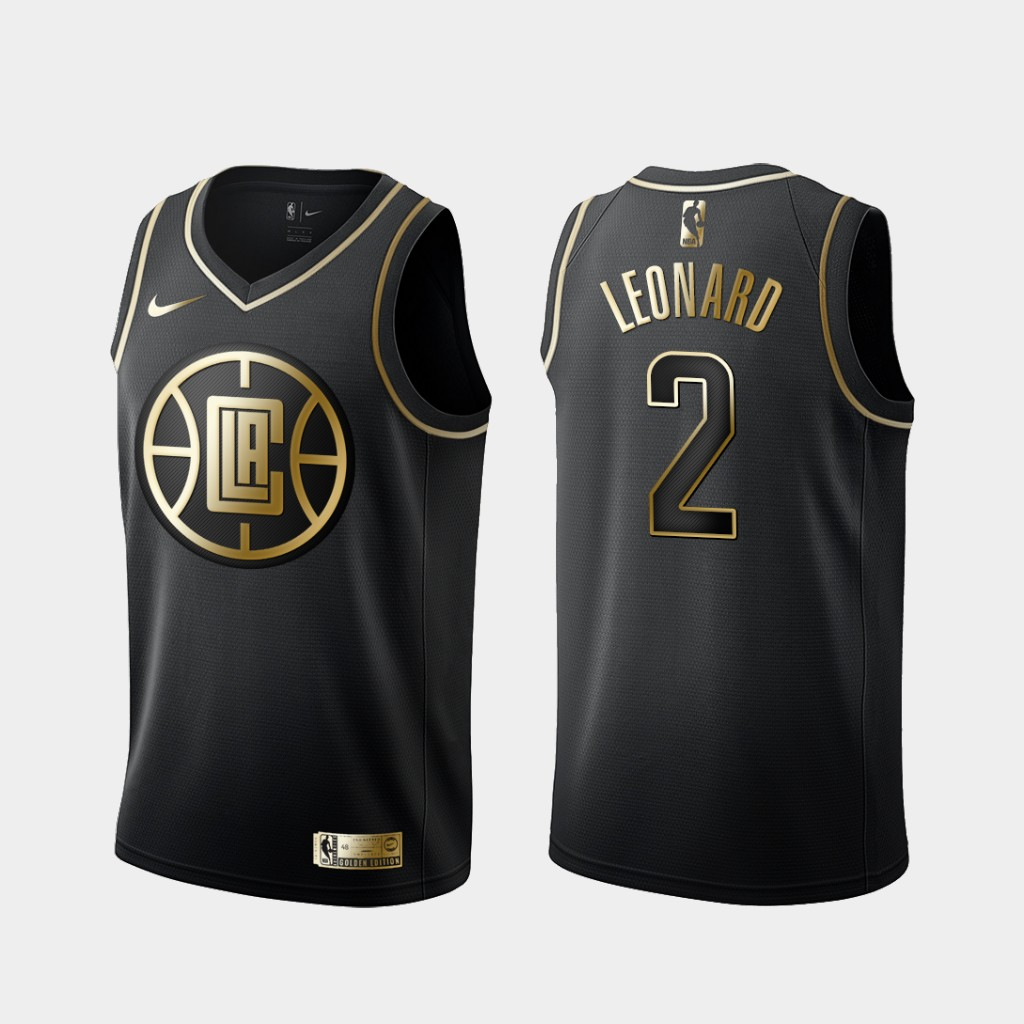 2020 Men Los Angeles Clippers 2 Leonard Black golden Nike NBA Jerseys