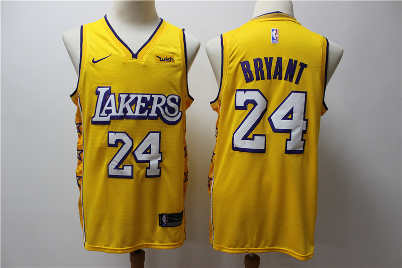 2020 Men Los Angeles Lakers 24 Bryant yellow NBA jersey style 2