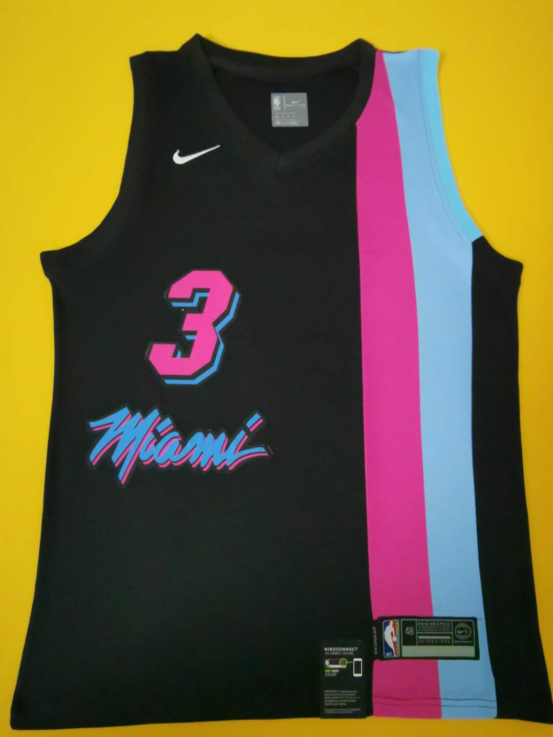 2020 Men Miami Heat 3 Wade Black game NBA Nike Jerseys