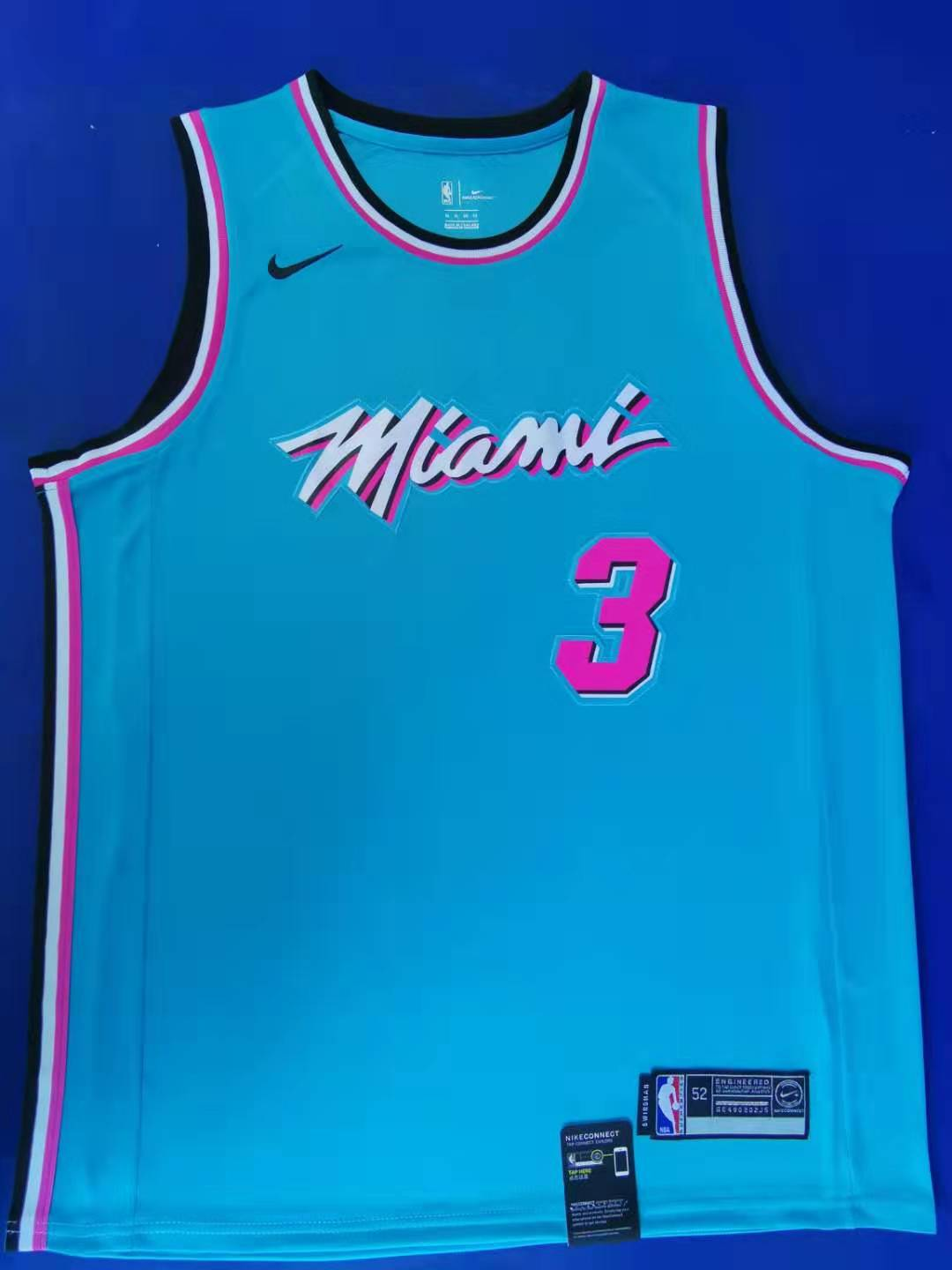 2020 Men Miami Heat 3 Wade Blue city edition game NBA Nike Jerseys