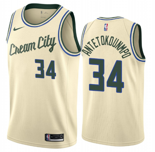 2020 Men Milwaukee Bucks 34 Antetokounmp cream city edition NBA Nike Jerseys