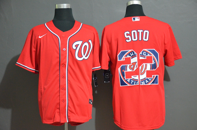 2020 Men Washington Nationals 22 Soto red Game MLB Jerseys