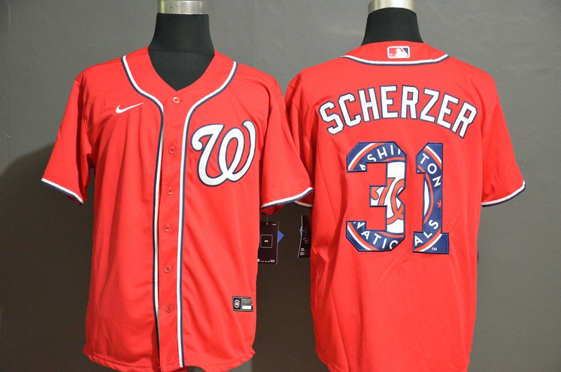 2020 Men Washington Nationals 31 Scherzer red Game MLB Jerseys
