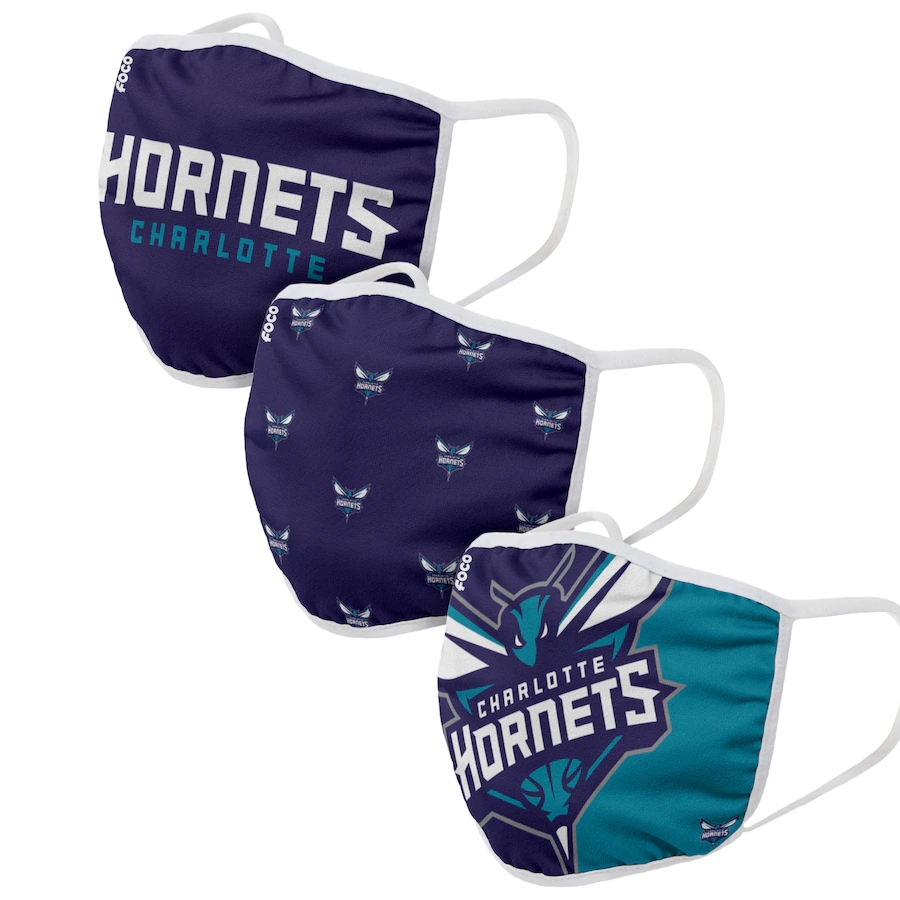 Adult Charlotte Hornets 3Pack Dust mask with filter