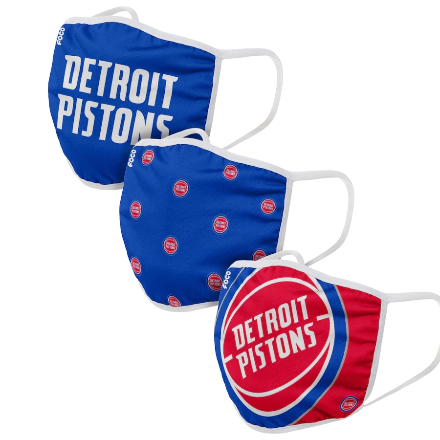 Adult Detroit Pistons 3Pack Dust mask with filter