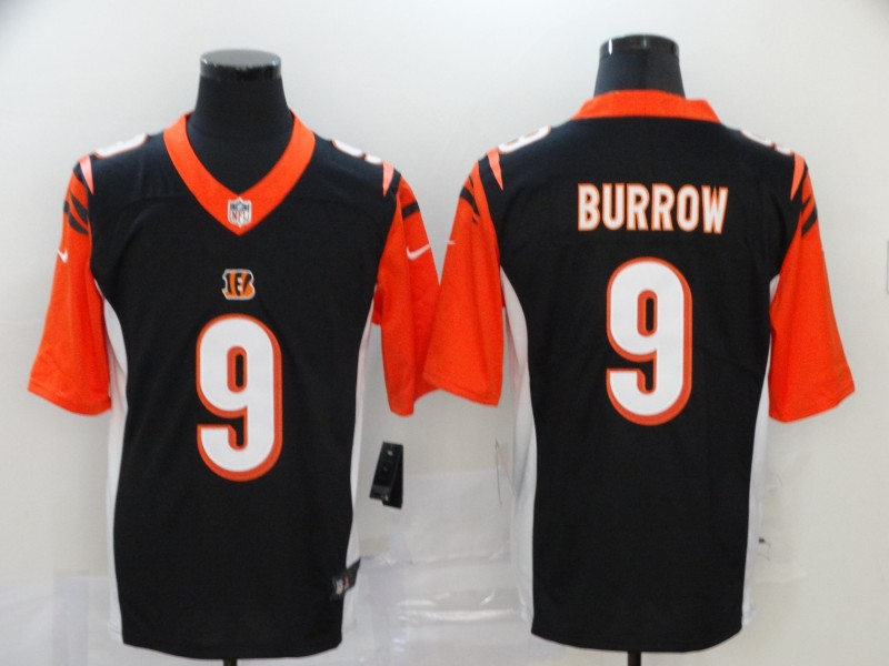 Cincinnati Bengals Limited Black Men burrow Jersey NFL Footballl 9 Vapor Untouchable