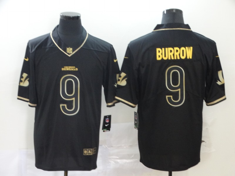 Cincinnati Bengals Limited Men 9 Burrow black golden Jersey NFL Football Vapor Untouchable