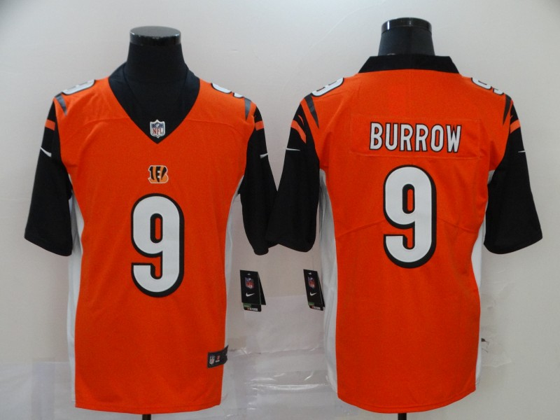Cincinnati Bengals Limited orange Men burrow Jersey NFL Footballl 9 Vapor Untouchable