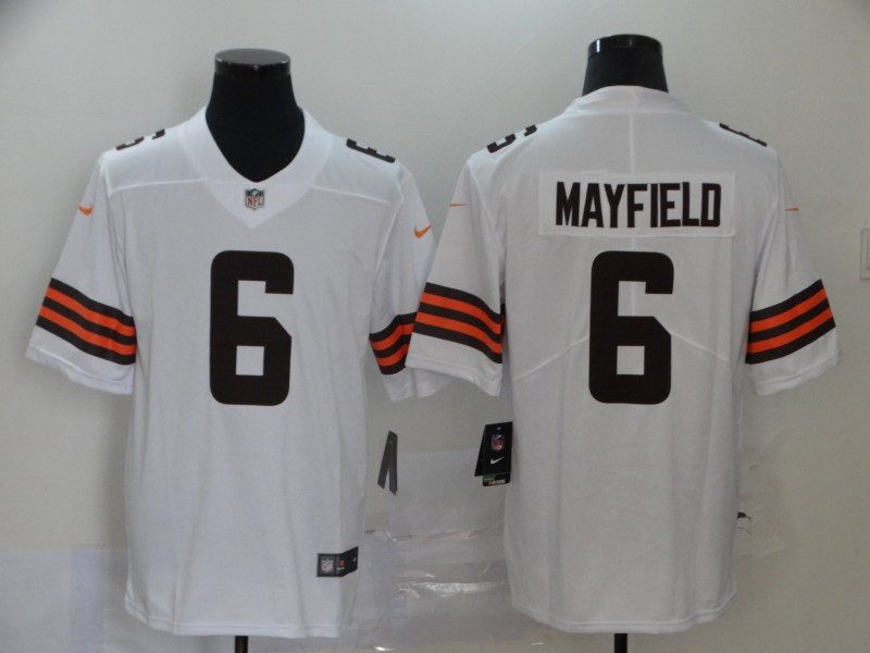Cleveland Browns Mayfield Men white Limited Jersey 6 NFL Football Road Vapor Untouchable