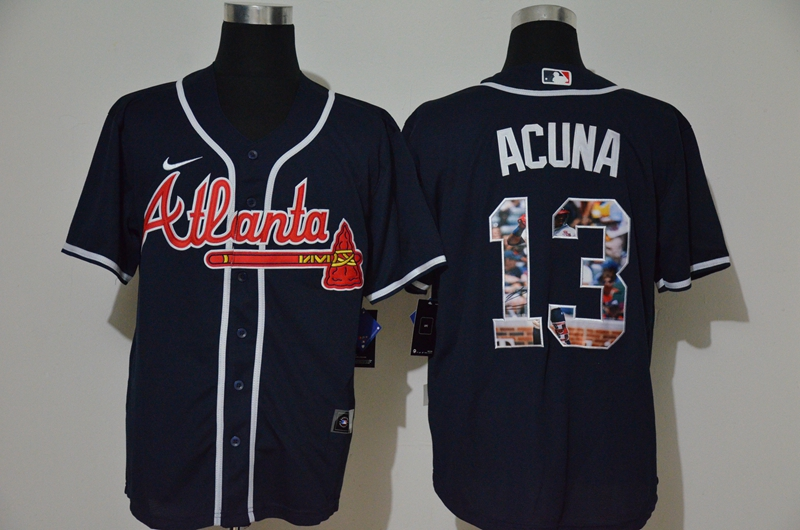 MLB Men Atlanta Braves 13 Ronald Acuna Jr. Nike blue Home 2020 Replica Player Jersey