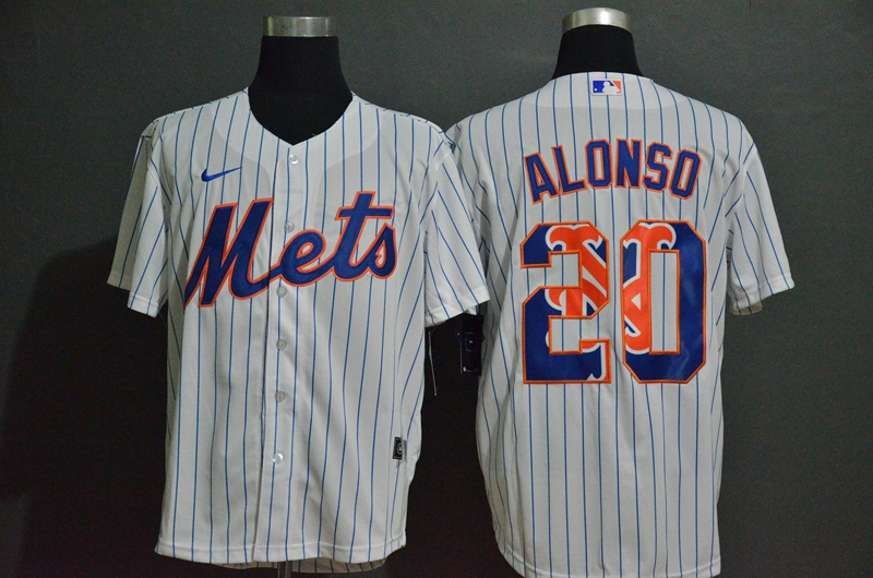 MLB Men New York Mets 20 Pete Alonso Nike White 2020 Replica Player Jersey