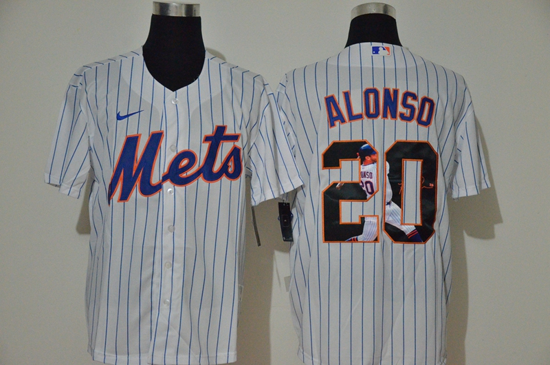 MLB Men New York Mets 20 Pete Alonso Nike White Home 2020 Replica Player Jersey