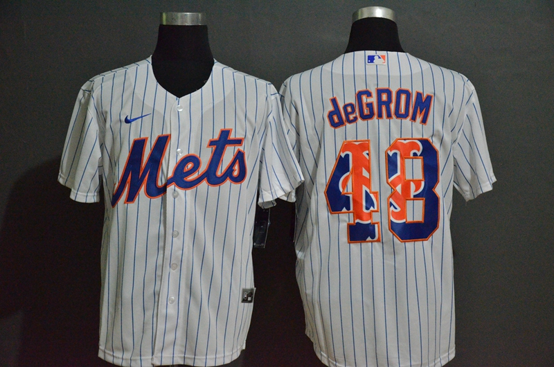 MLB Men New York Mets 48 de Grom Nike White Home 2020 Replica Player Jersey