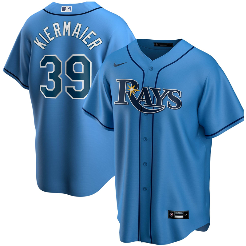 MLB Men Tampa Bay Rays 39 Kevin Kiermaier Nike Light Blue Alternate 2020 Replica Player Jersey