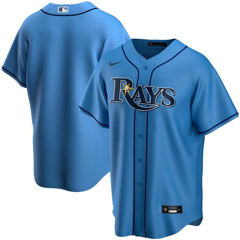 MLB Men Tampa Bay Rays Nike Light Blue Alternate 2020 Replica Team Jersey