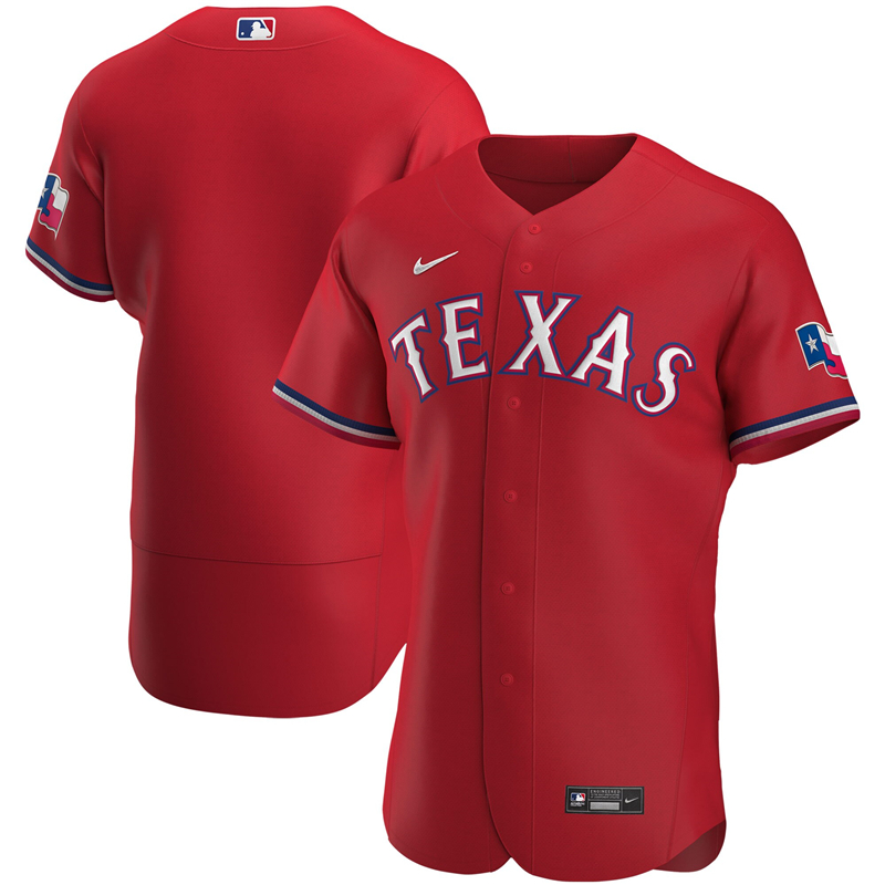 MLB Men Texas Rangers Nike Red Alternate 2020 Authentic Jersey