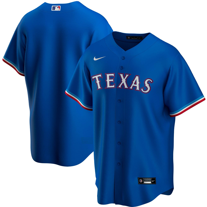 MLB Men Texas Rangers Nike Royal Alternate 2020 Replica Team Jersey
